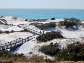 Port St Joe Beach with sand dunes leading down to the water