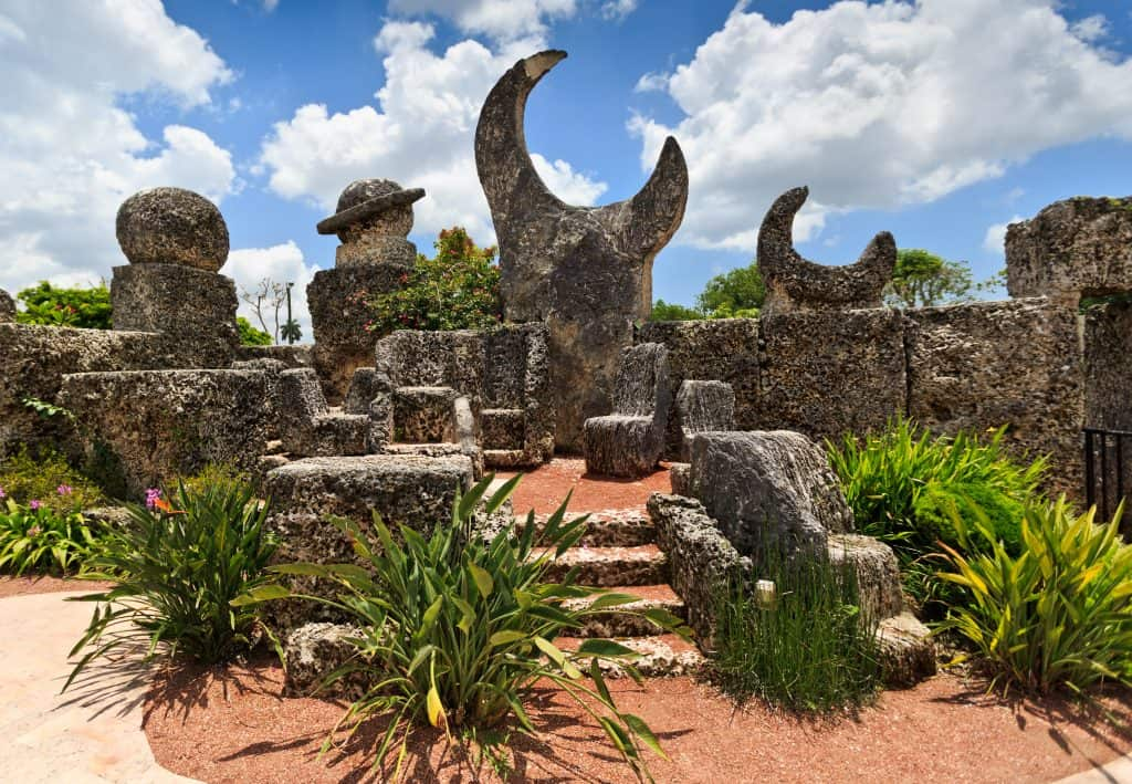 The stone formations of Coral Castle, a great sight to see on your Florida road trip.