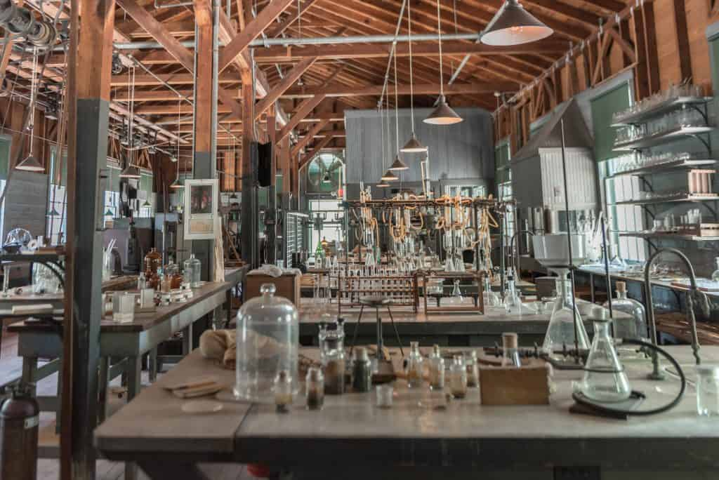 The laboratory of Henry Ford and Thomas Edison at their estate.
