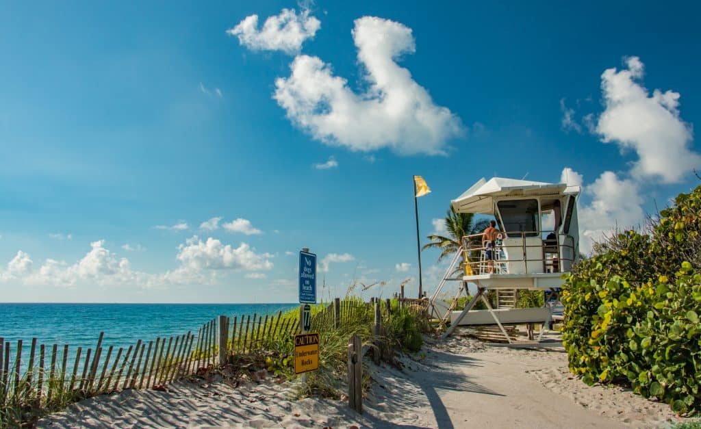 A lifeguard stand sits at Hobe Sound, one of the best nude beaches in Florida.