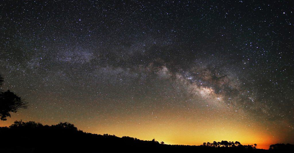 The night sky reveals a multitude of Stars at Cedar Key, one of the best places to go stargazing in Florida.