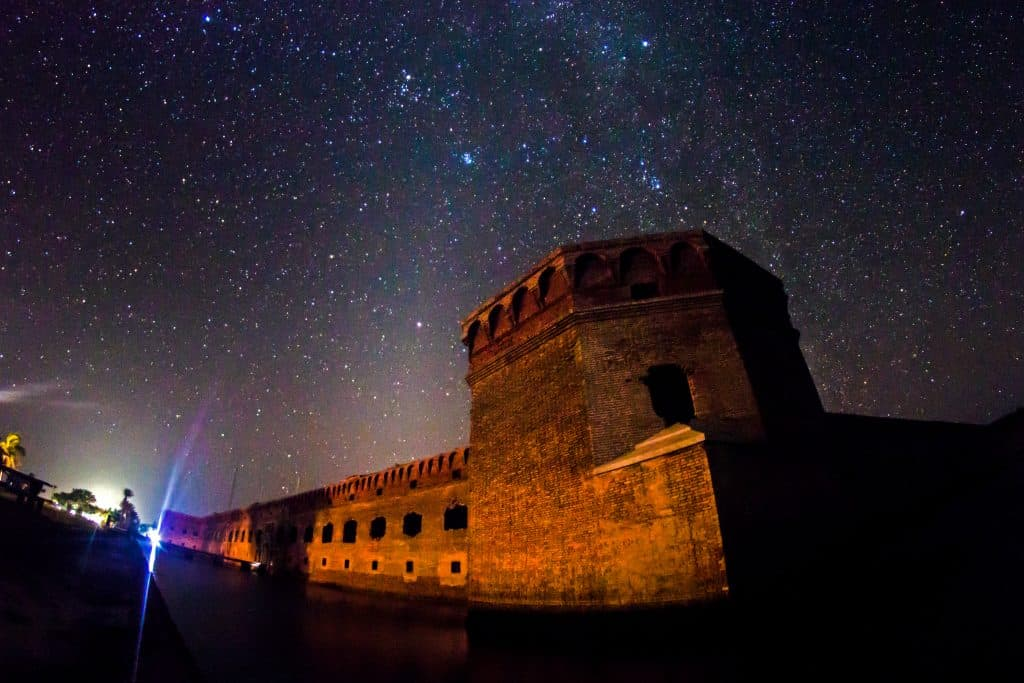 The sky is filled with stars about Dry Tortugas National Park, one of the best places to go stargazing in Florida.
