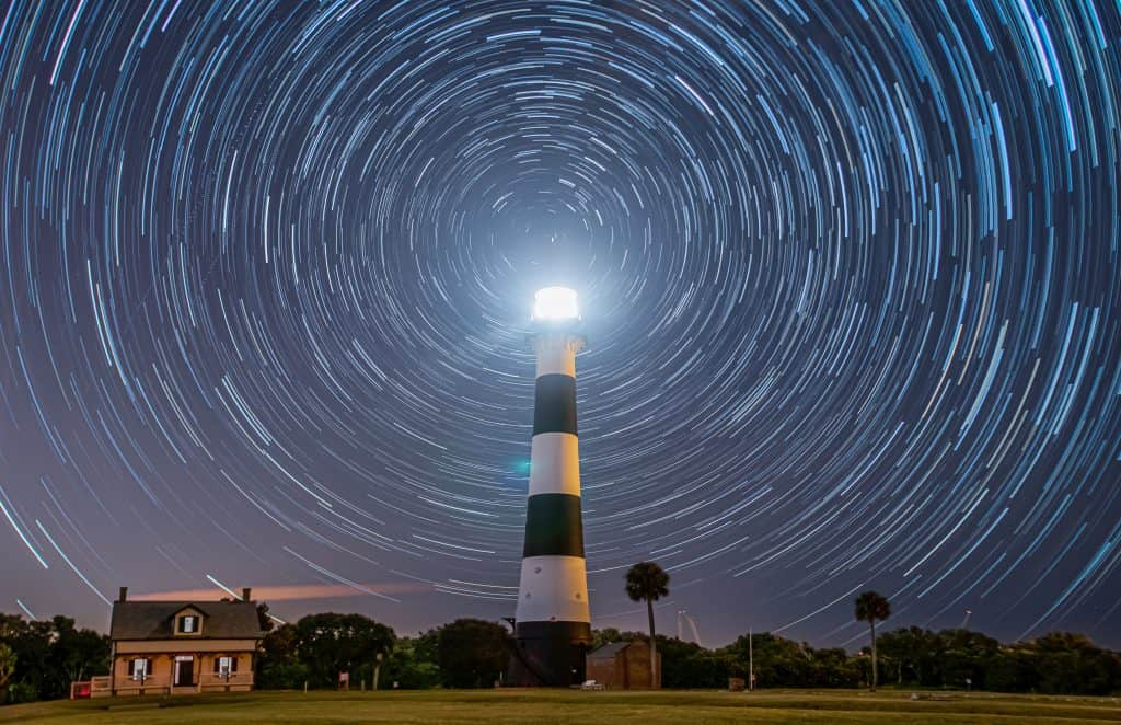 Stars surround a lighthouse in Florida.