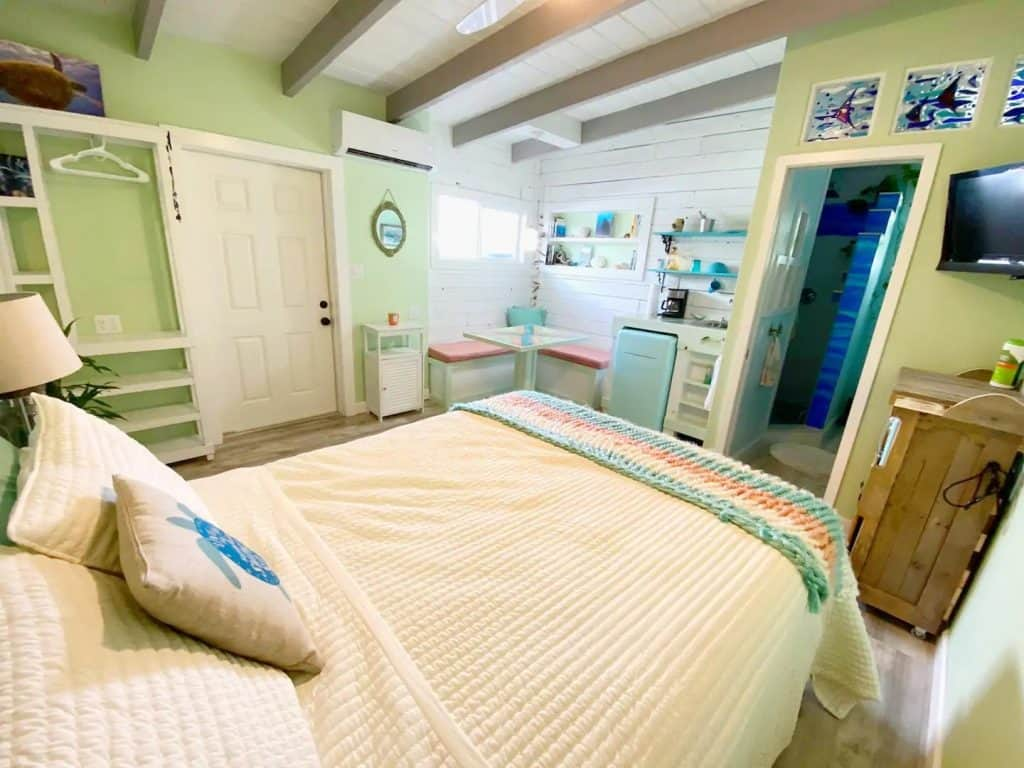 Photo of the main living space inside a beachy Airbnb in Florida.