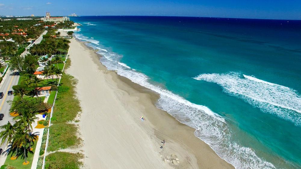 Palm Beach an aerial view on of the Florida East Coast Beaches
