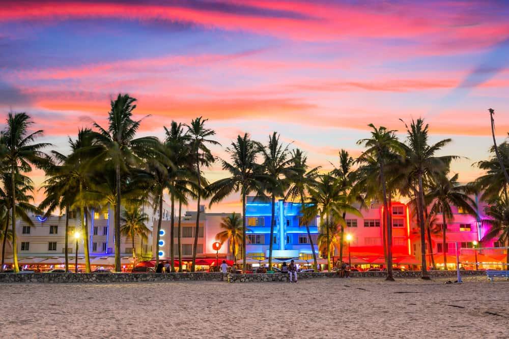 South Beach Miami in the nighttime