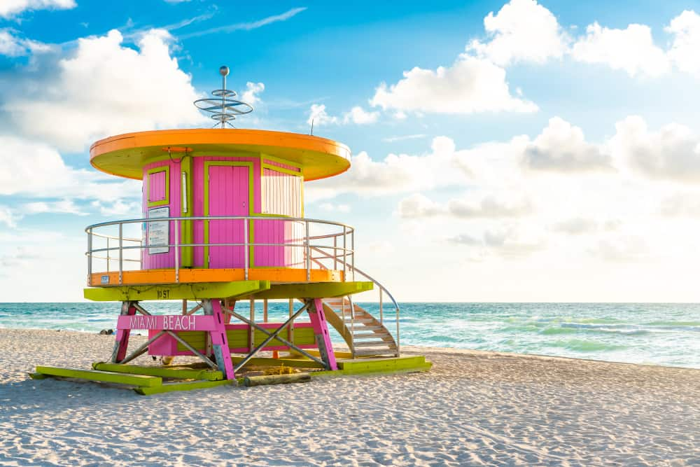 An iconic lifeguard tower on South Beach an Florida East Coast Beaches