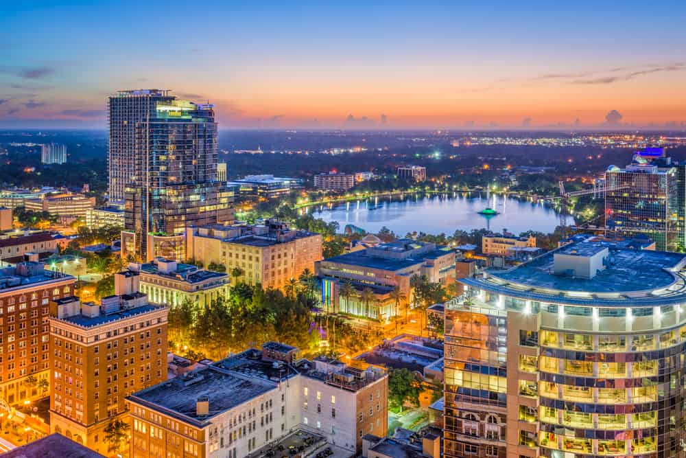 Orlando downtown view in an article about rooftop bars in Orlando
