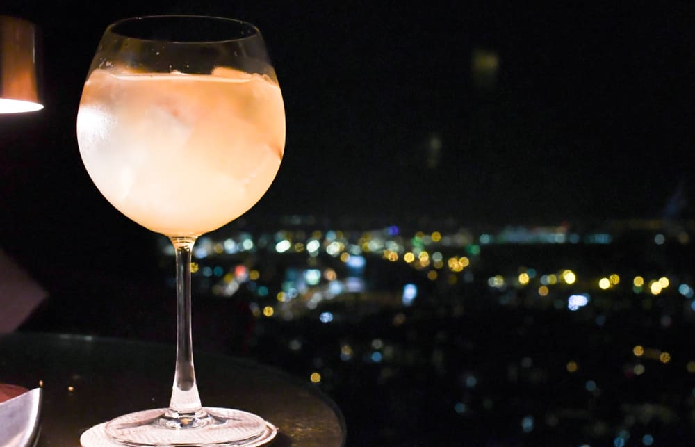 A cocktail in a rooftop bar in Orlando
