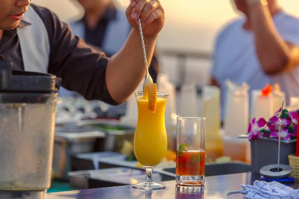 Bartenders making cocktails