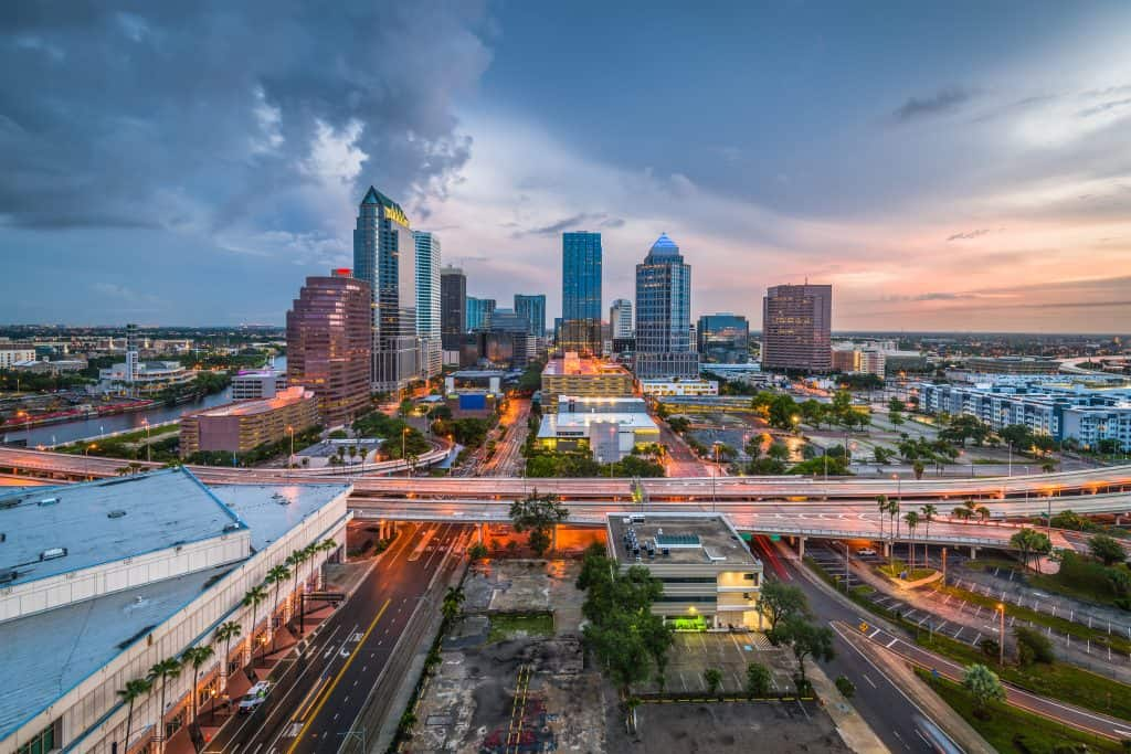 The Tampa skyline as the sun slowly sets on the horizon.