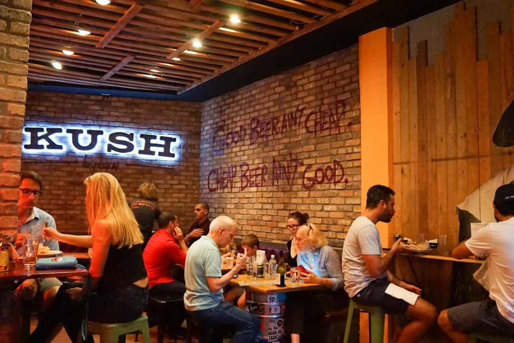 The interior of Kush, a restaurant in the Wynwood art district.