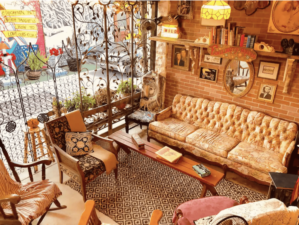 The common living area of the Golddigger Inn, one of the most beautiful Airbnbs in Miami.