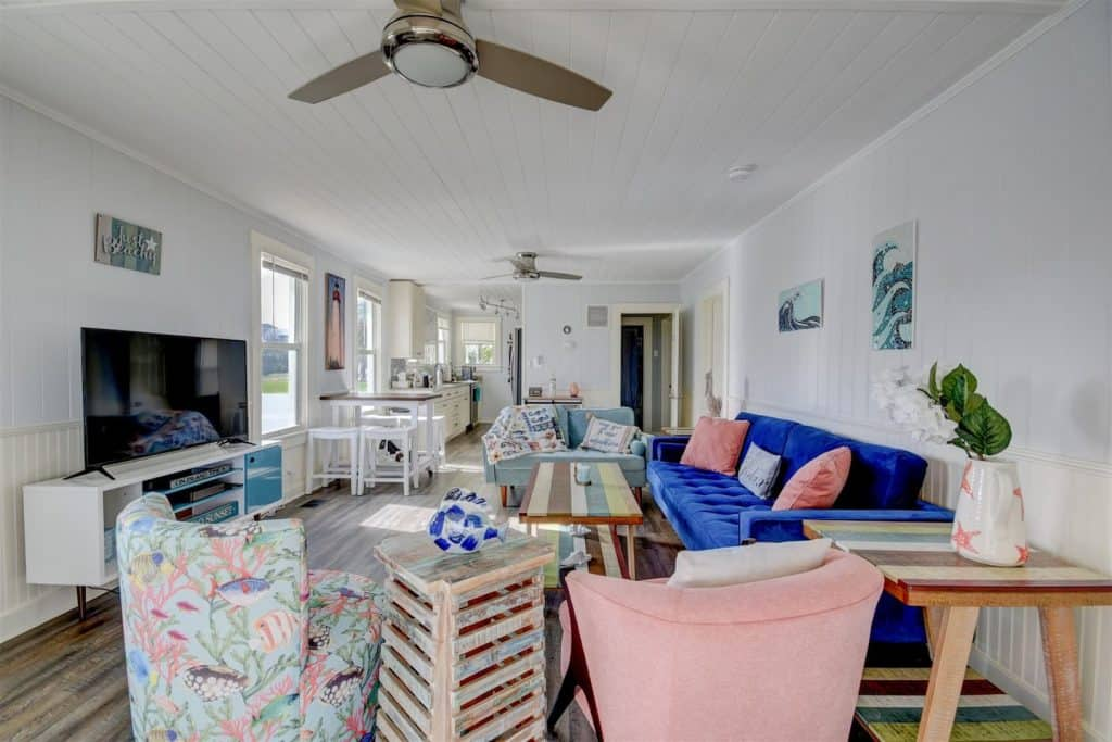 Photo of the living room inside Ocean Breeze Airbnb.