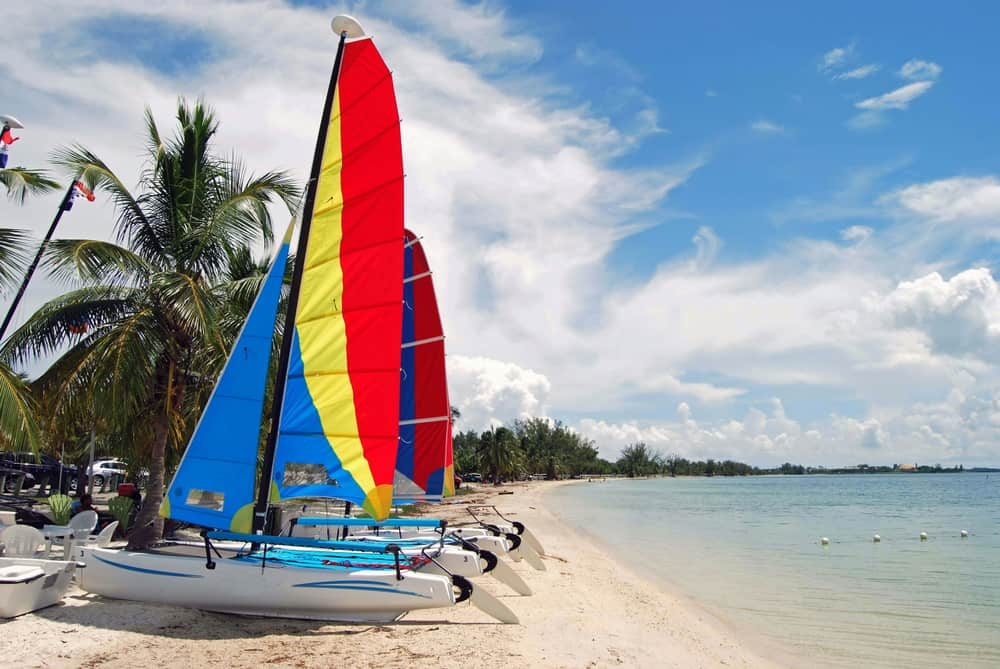 Hobie Beach in Miami is known for sailing and windsurfing