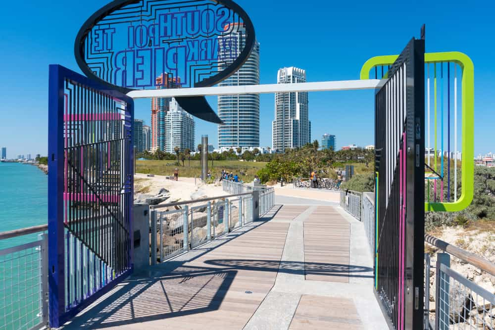 Head to South Pointe Park on the southern tip of Miami beach with a boardwalk