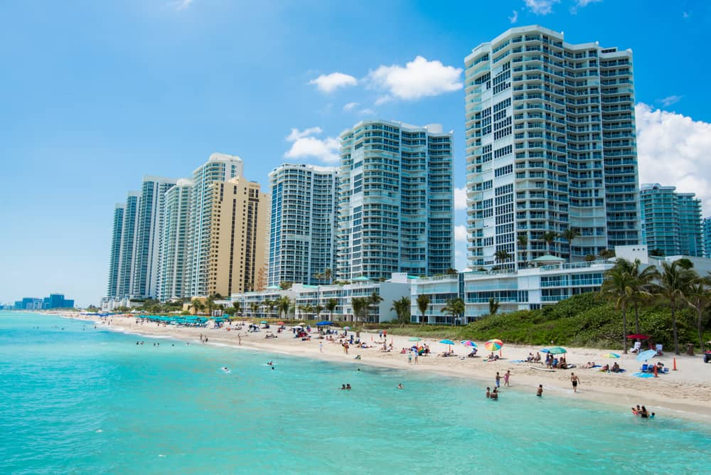 Sunny Isles is north of Miami and known for its beautiful backdrop of buildings