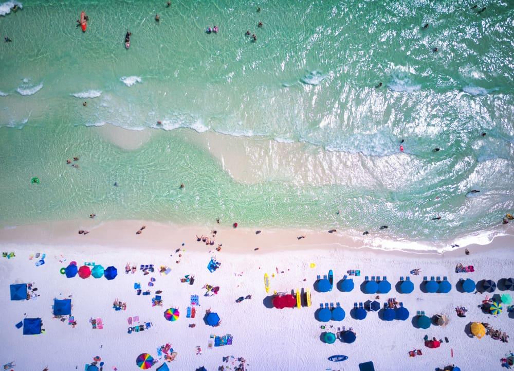 An aerial view of santa rosa beach