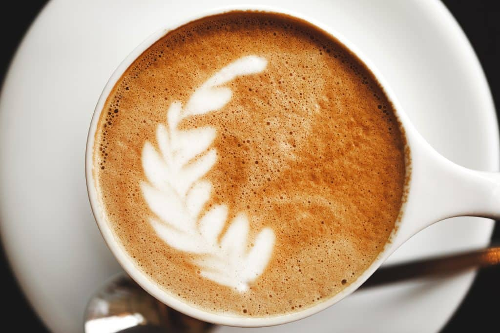 Latte art in the shape of a feather.