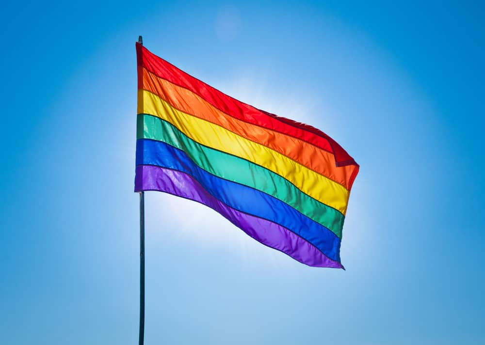 The rainbow flag in an article about gay beaches in Florida