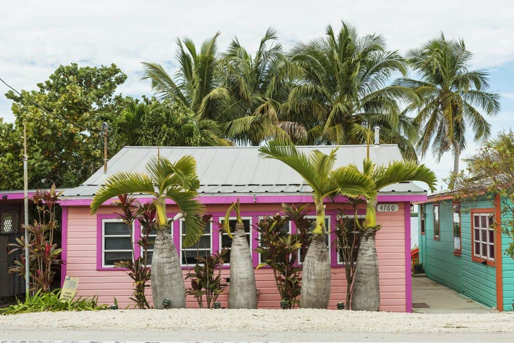 One of Matlacha's trademark neon colored houses that make the town one of the best in Florida.