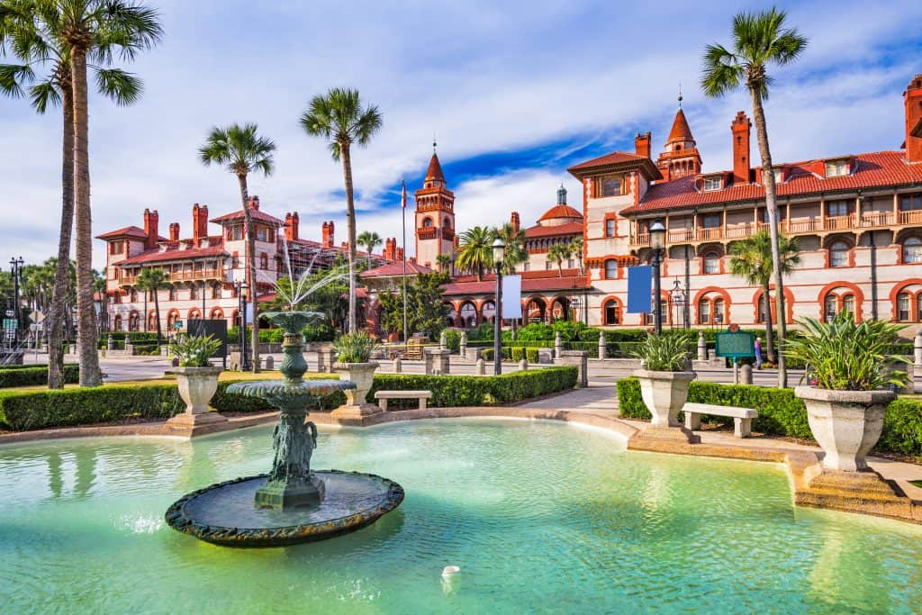 A fountain glistens with blue-green waters in St. Augustine, one of the cutest small towns in Florida.