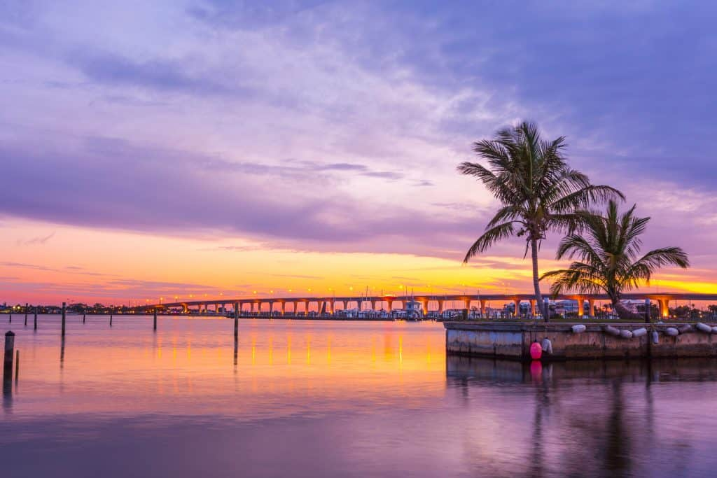 Stuart, one of the best small towns in Florida, at sunset.