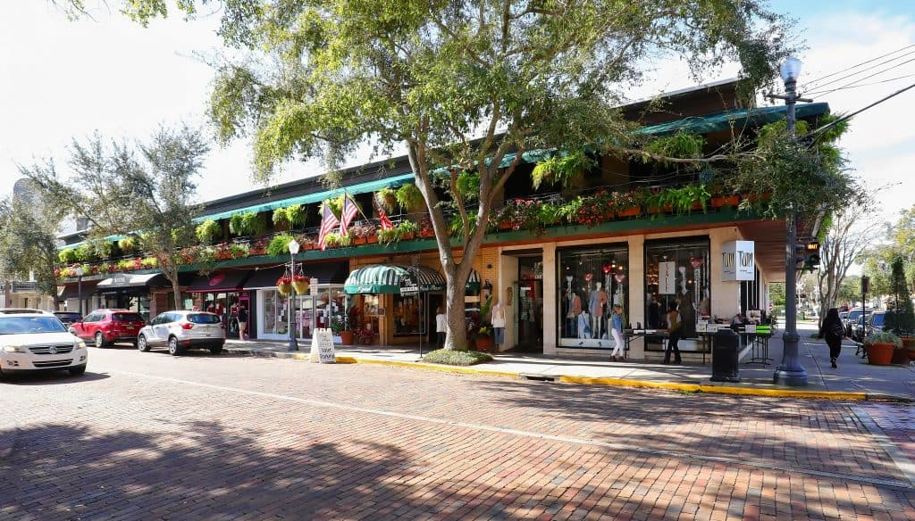 Downtown Winter Park, a quaint Florida town just north of Orlando.