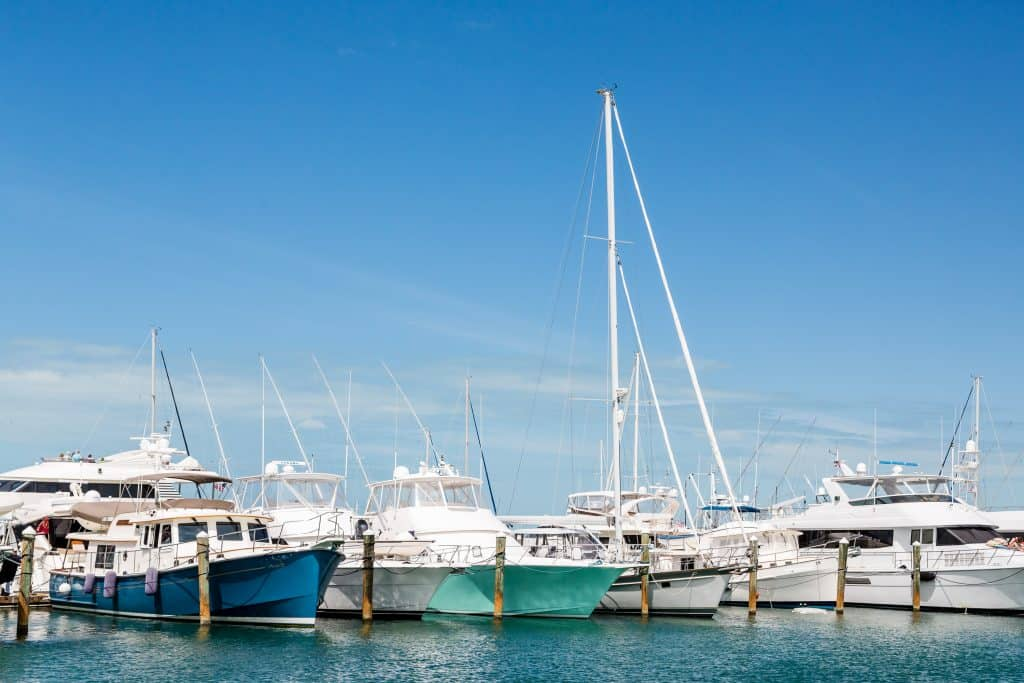 Photo of several boats docked at a marina in Key West.