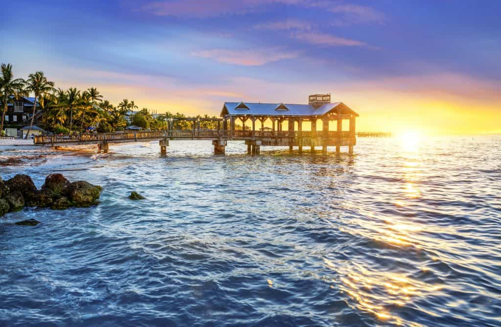 Photo of a pier at sunset in Key West.