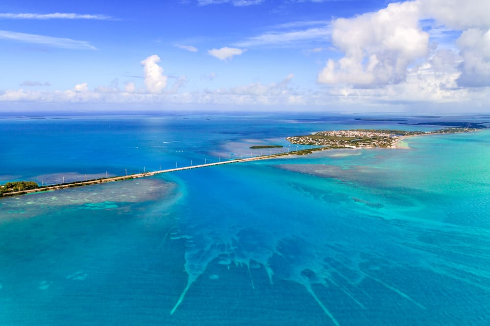 Overhead view of the teal waters of the Florida Keys