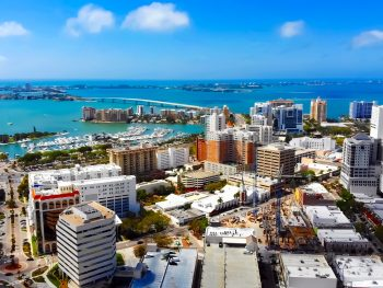 An aerial shot of Siesta Key's downtown.