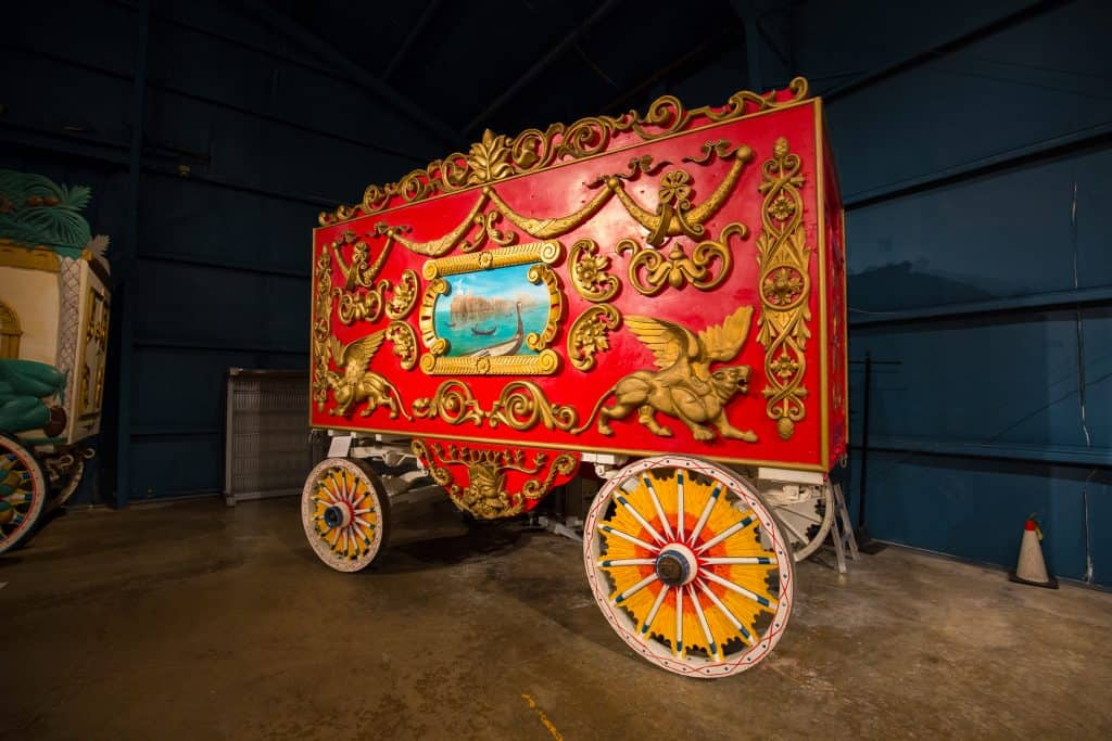 An old circus wagon sits at Sarasota Circus, a great attraction for the whole family.
