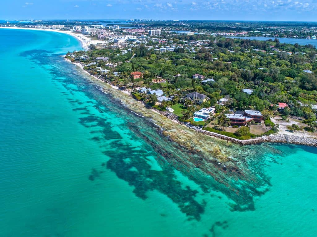 An aerial shot of Point of Rocks, one of the best things to do in Siesta Key.
