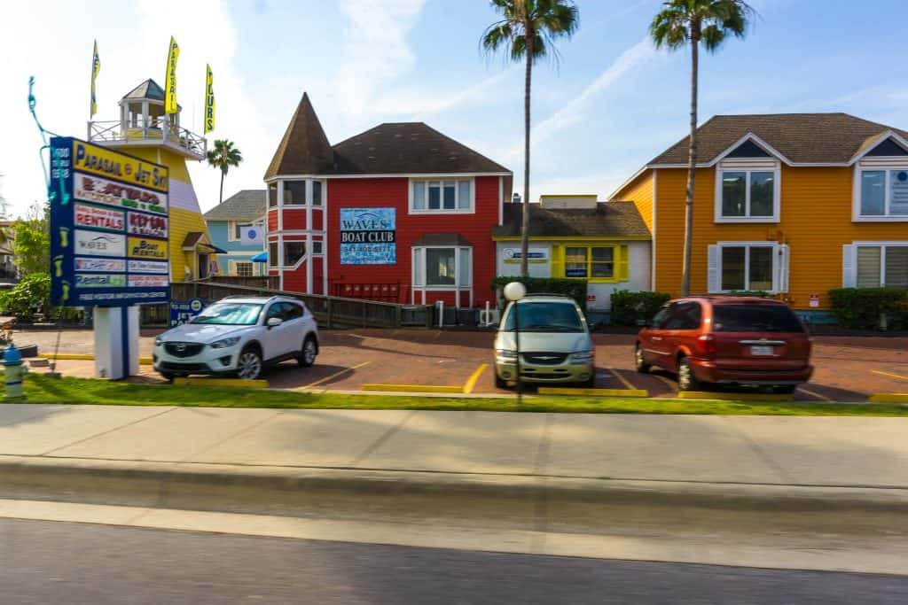 Colorful shops line the streets of Siesta Key Village, one of the best things to do in Siesta Key.