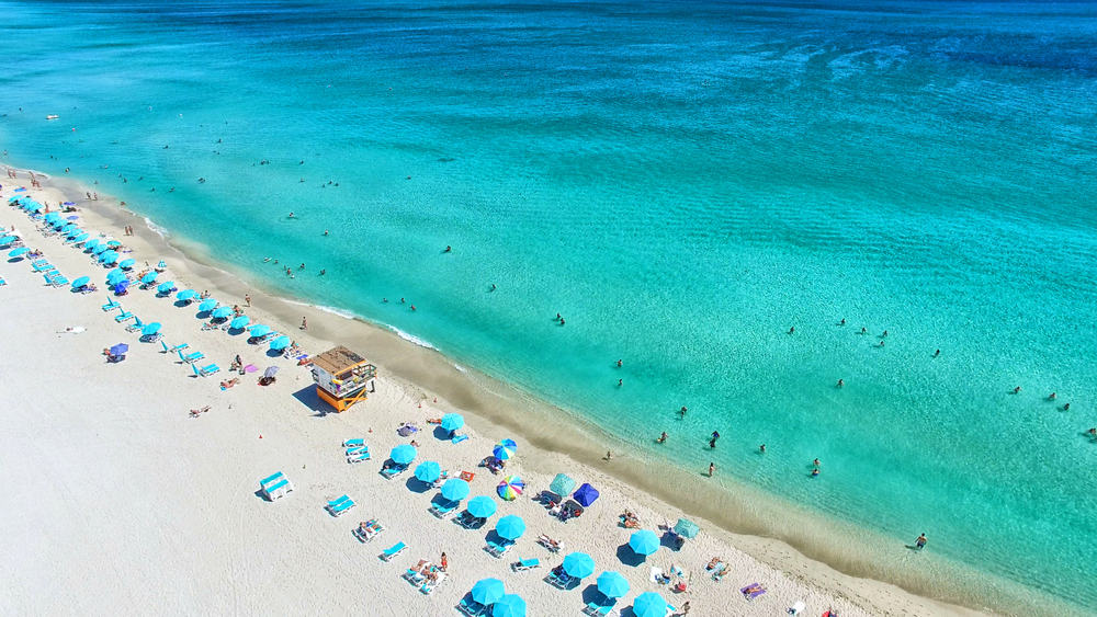 An aerial view of this beach is South Florida shows how blue and beautiful the water is!
