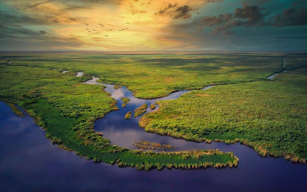 The waterways of the Everglades shimmer in the sunset.