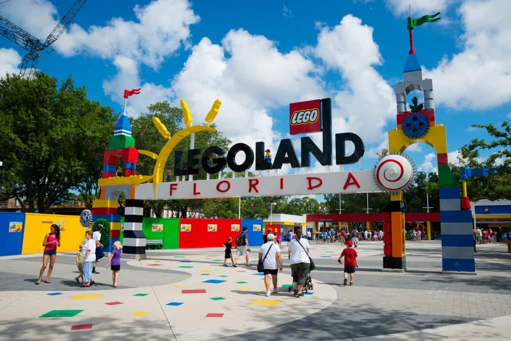 The Legoland Florida arch at the front of the park