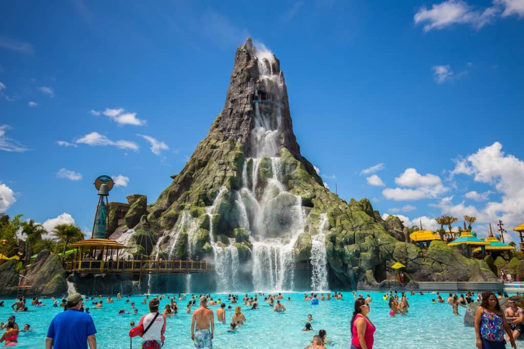 The large volcano centerpiece and wave pool of Volcano Bay