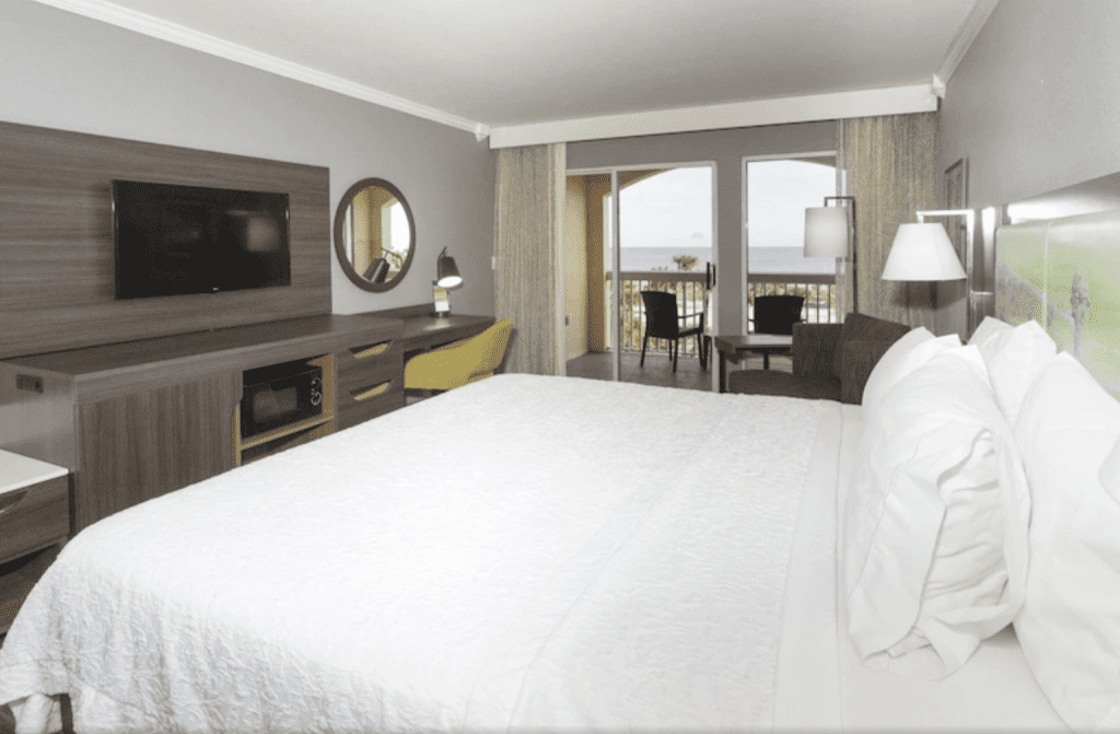 This beautiful, modern hotel is right on the St. Augustine Beach, literally a stone's throw away!