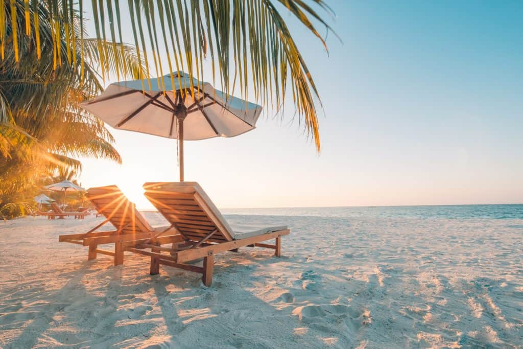 Beach chairs sit on the sand under an umbrella at sunset.