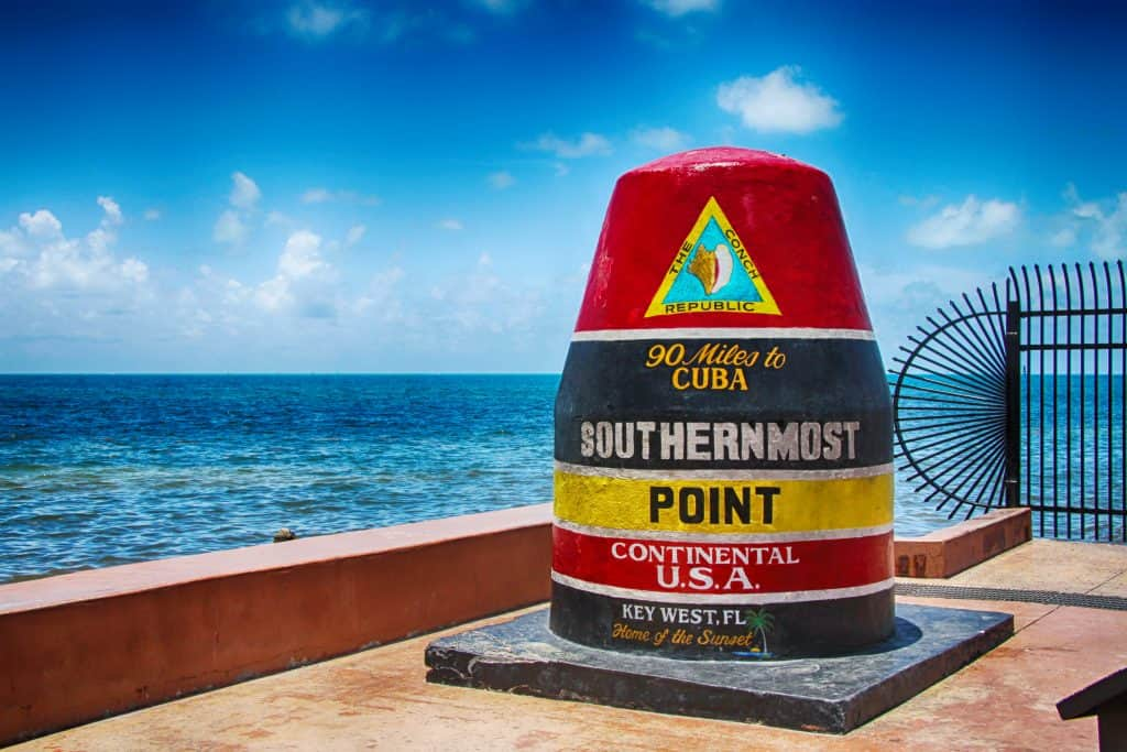 The southernmost point of the Continental USA in Key West, one of the best day trips from Miami.