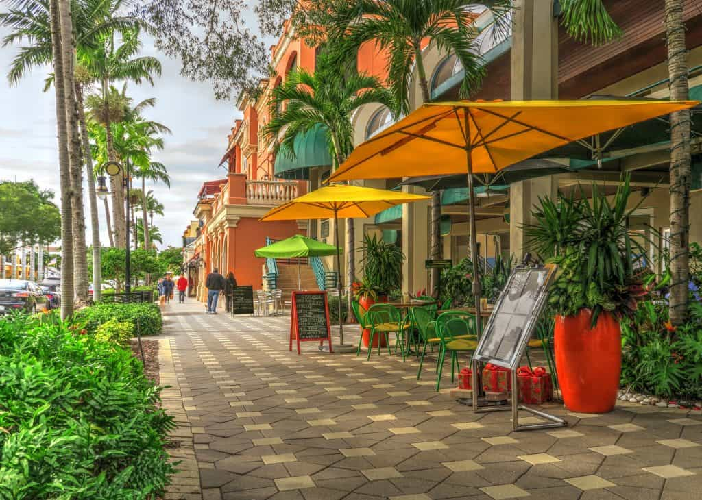 The downtown area of Naples, a great Miami day trip.