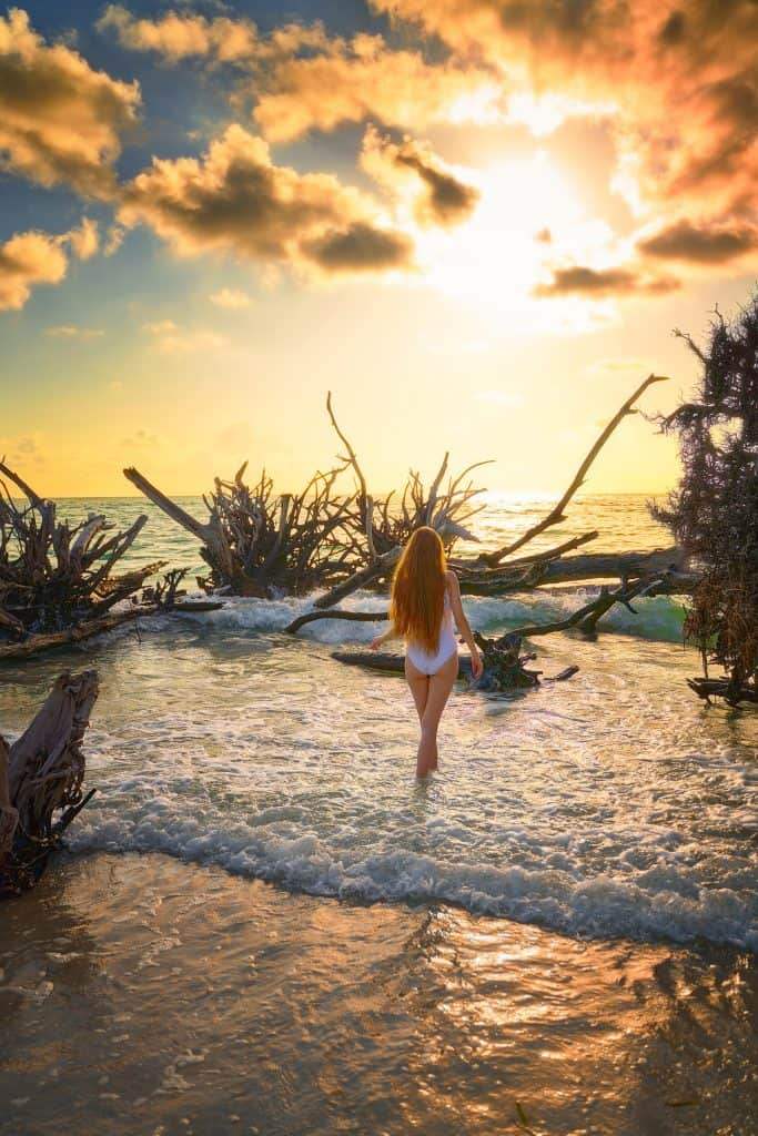 Here at beer can island in Sarasota a girl in a white bathing suit poses in front of trees roots jutting out of the ocean