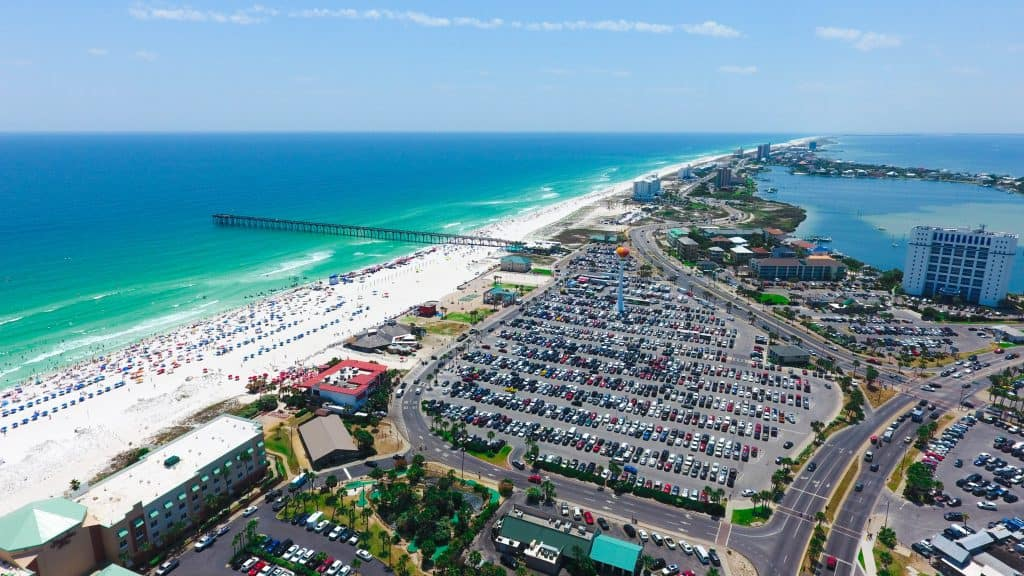 ARIEL VIEW OF CASINO BEACH ONE OF THE LIVELIEST BEACHES IN PENSACOLA