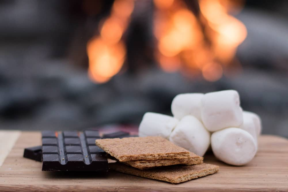 photo of smores in front of a campfire