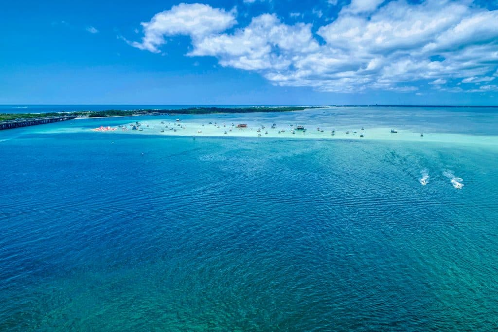 A drone gives you a clear picture of the sandbar that makes up Crab Island.
