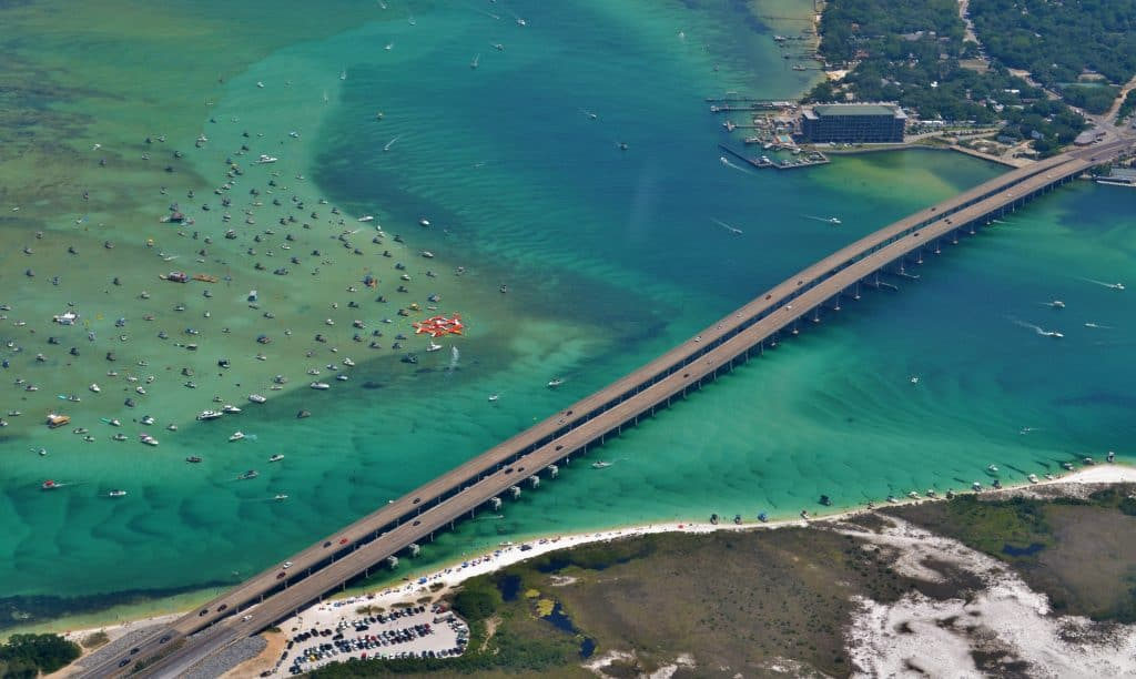 Through this drone image, you can see the boats on Crab Island as well as a floating obstacle course.