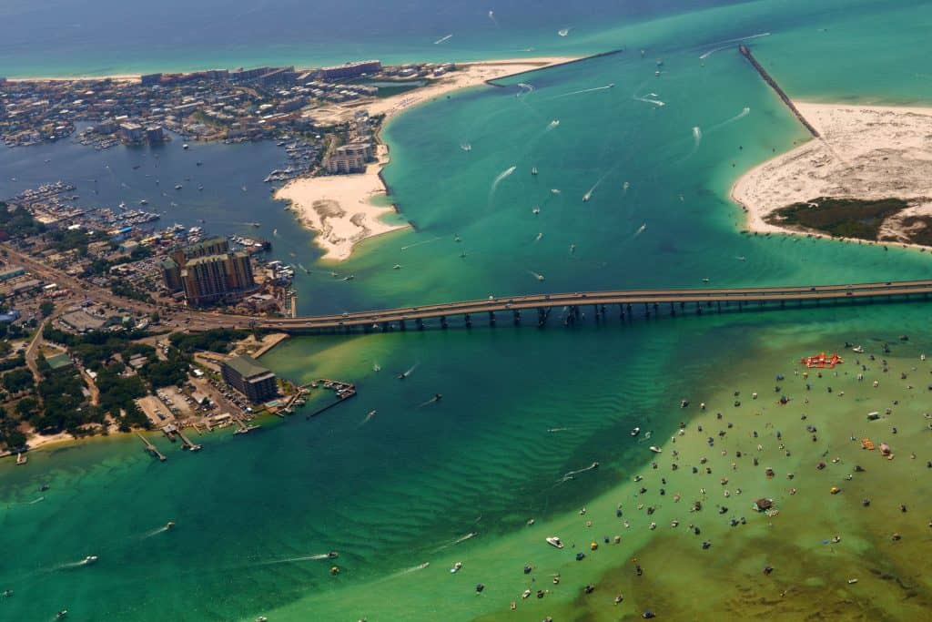 An aerial shot of Destin Harbor and Crab Island.