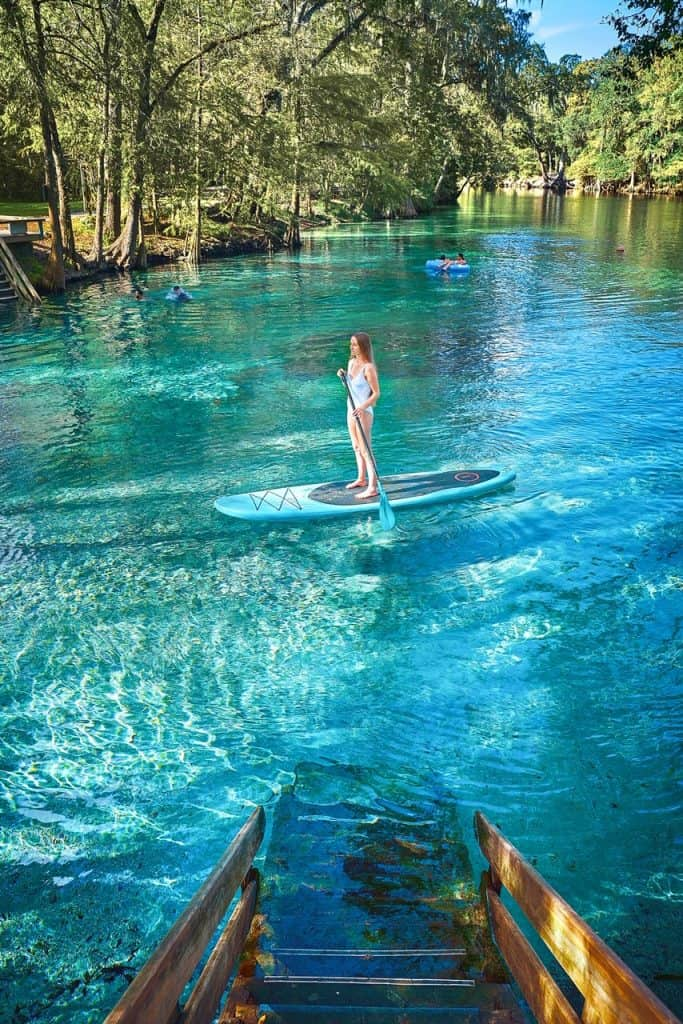 A girl in a white bathing suit, on a stand up paddle board at Ginnie springs with trees in the background.